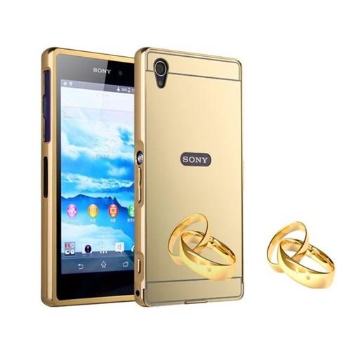 Teleplus Sony Xperia Z1 Aynalı Metal Kapak Kılıf Gold