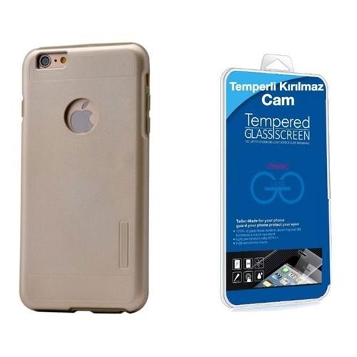 Teleplus İphone 6S Plus Çift Katmanlı Kapak Kılıf Gold + Kırılmaz Cam