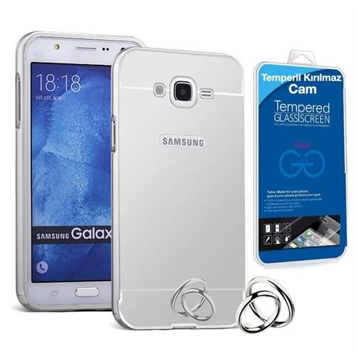 Teleplus Samsung Galaxy J1 Ace Aynalı Metal Kapak Kılıf Gümüş + Kırılmaz Cam