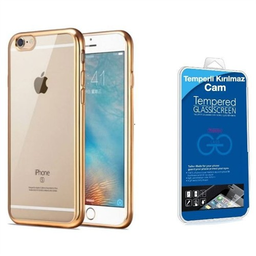 Teleplus İphone 6 Lazer Silikon Kılıf Gold + Kırılmaz Cam