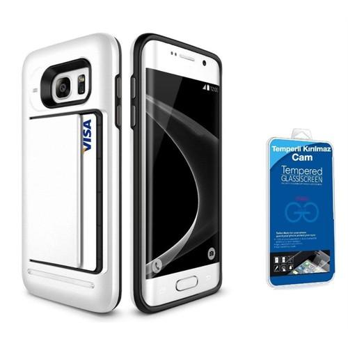 Teleplus Samsung Galaxy S7 Çift Koruma Cüzdanlı Kapak Kılıf Beyaz + Kırılmaz Cam