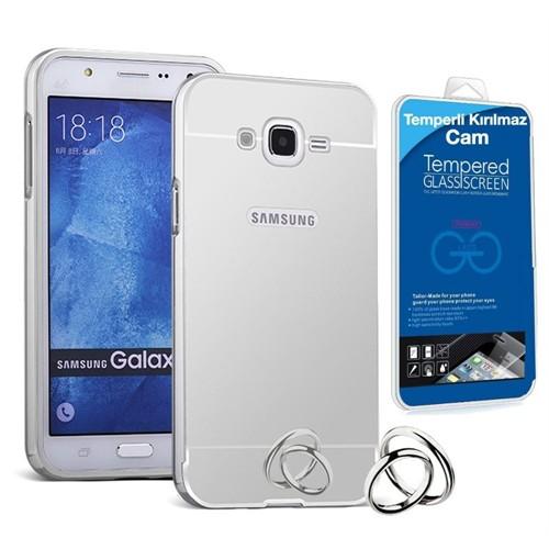 Teleplus Samsung Galaxy J7 Metal Aynalı Kapak Kılıf Gümüş + Kırılmaz Cam
