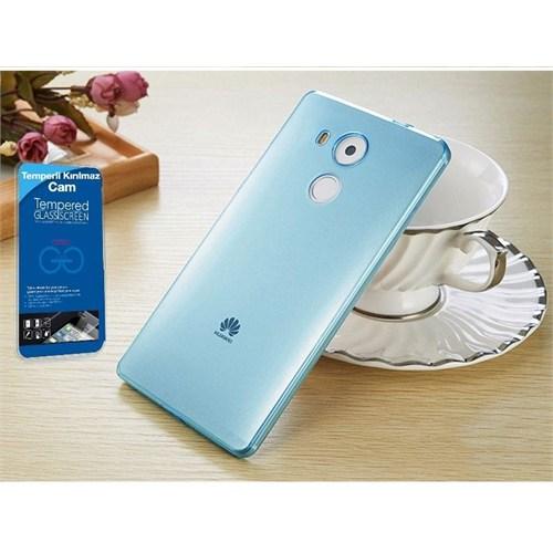 Teleplus Huawei Mate 8 Silikon Kılıf Mavi + Kırılmaz Cam