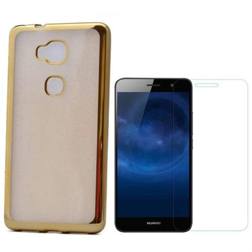 Teleplus Huawei Gr5 Tam Korumalı Silikon Kılıf Gold + Kırılmaz Cam