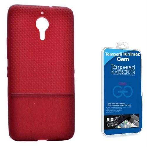 Teleplus General Mobile Gm 5 Plus Benekli Silikon Kılıf Bodro + Kırılmaz Cam