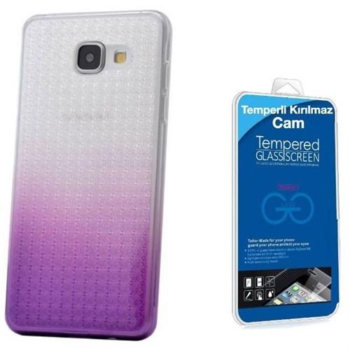Teleplus Samsung Galaxy A7 2016 Çift Renkli Silikon Kılıf Lila + Kırılmaz Cam