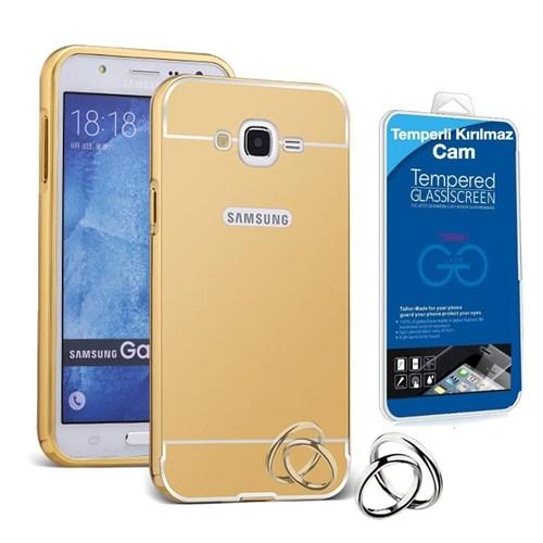 Teleplus Samsung Galaxy E5 Aynalı Metal Kapak Kılıf Gold + Kırılmaz Cam
