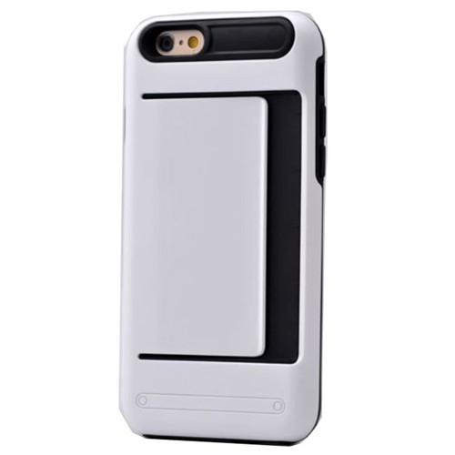Teleplus İphone 6 Plus Cüzdanlı Çift Katmanlı Kılıf Kapak Beyaz