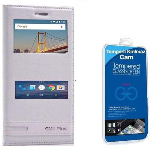 Teleplus General Mobile Gm 5 Plus Çift Pencereli Kılıf Beyaz + Kırılmaz Cam