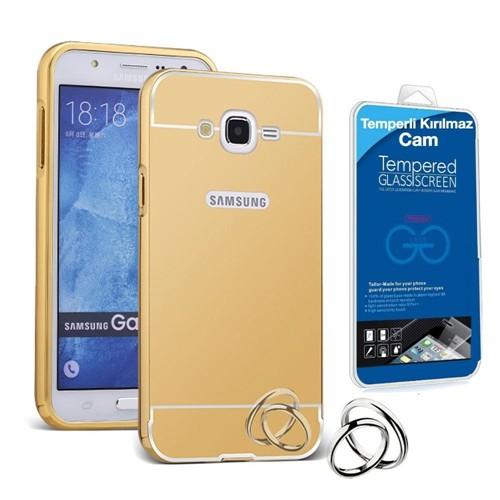 Teleplus Samsung Galaxy Grand İ9082 Aynalı Metal Kapak Kılıf Gold + Kırılmaz Cam