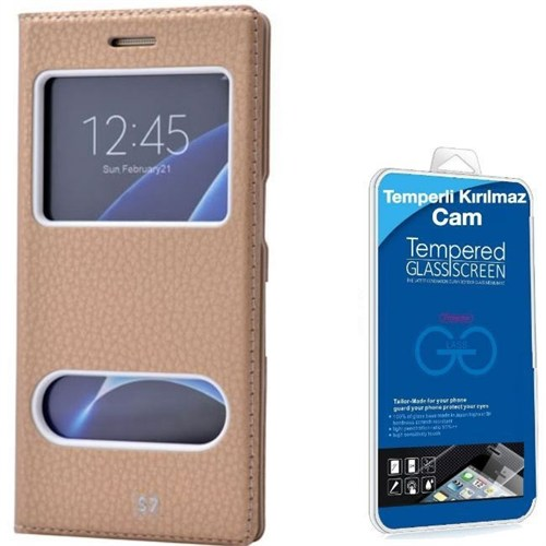 Teleplus Samsung Galaxy S7 Çift Pencereli Kılıf Gold + Kırılmaz Cam