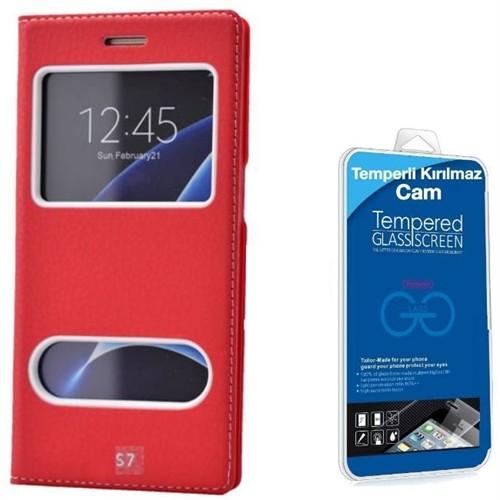 Teleplus Samsung Galaxy S7 Çift Pencereli Kılıf Kırmızı + Kırılmaz Cam