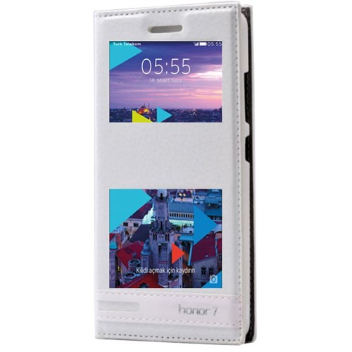 Teleplus Turk Telekom Honor 7 Çift Pencereli Lüx Kılıf Beyaz