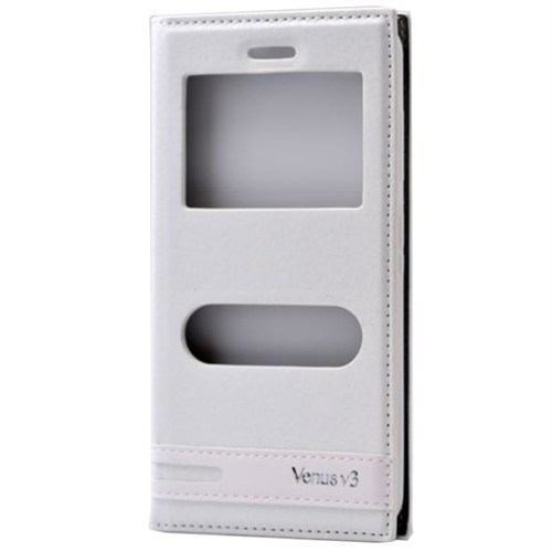 Teleplus Vestel Venüs V3 5070 Çift Pencereli Kılıf Beyaz