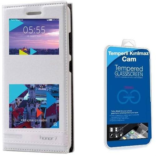 Teleplus Turk Telekom Honor 7 Çift Pencereli Lüx Kılıf Beyaz + Kırılmaz Cam