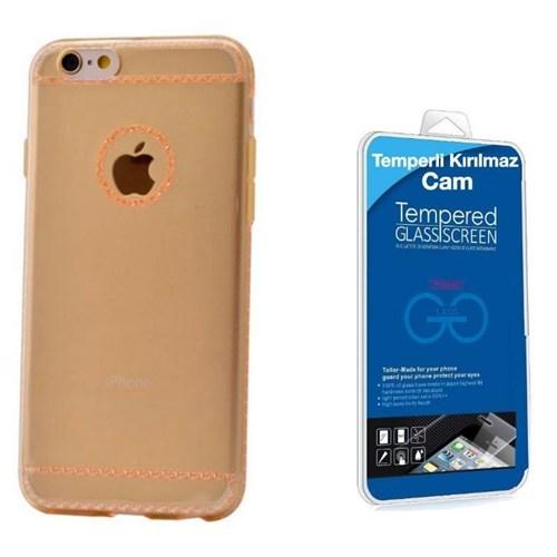 Teleplus İphone 6 Plus Dikişli Silikon Kılıf Gold + Kırılmaz Cam
