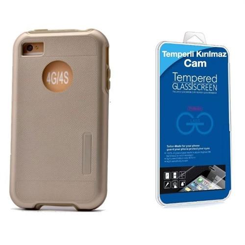 Teleplus İphone 4 Çift Katmanlı Kapak Kılıf Gold + Kırılmaz Cam