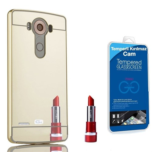 Teleplus Lg G4 Aynalı Metal Kapak Kılıf Gold + Kırılmaz Cam