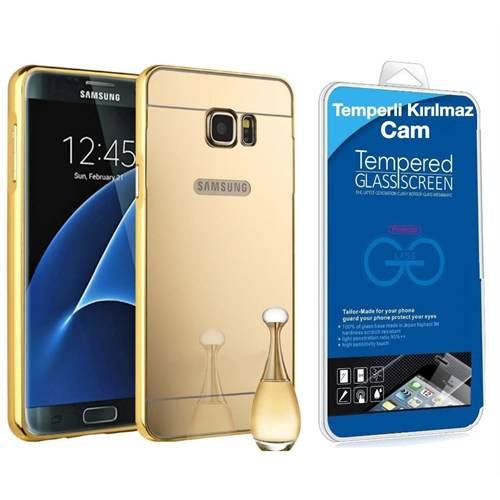 Teleplus Samsung Galaxy S6 Aynalı Metal Kapak Kılıf Gold + Kırılmaz Cam