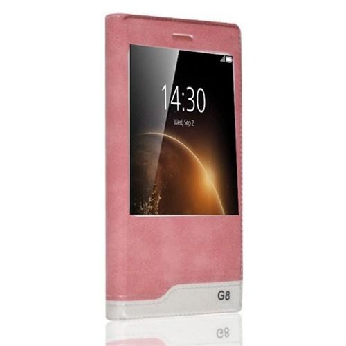 Teleplus Huawei G8 Yeni Pencereli Kılıf Açık Pembe