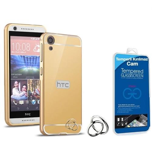 Teleplus Htc Desire 820 Aynalı Metal Kapak Kılıf Gold + Kırılmaz Cam