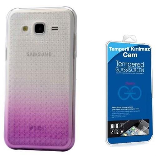 Teleplus Samsung Galaxy J7 Çift Renkli Silikon Kılıf Lila + Kırılmaz Cam