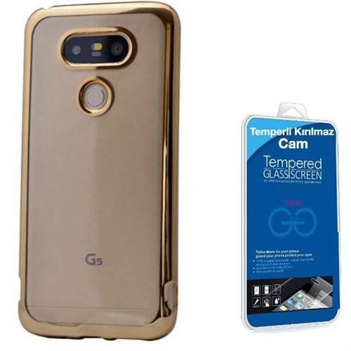 Teleplus Lg G5 Lazer Kesimli Tam Korumalı Silikon Kılıf Gold + Kırılmaz Cam
