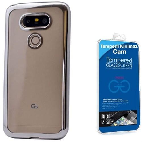 Teleplus Lg G5 Lazer Kesimli Tam Korumalı Silikon Kılıf Gümüş + Kırılmaz Cam