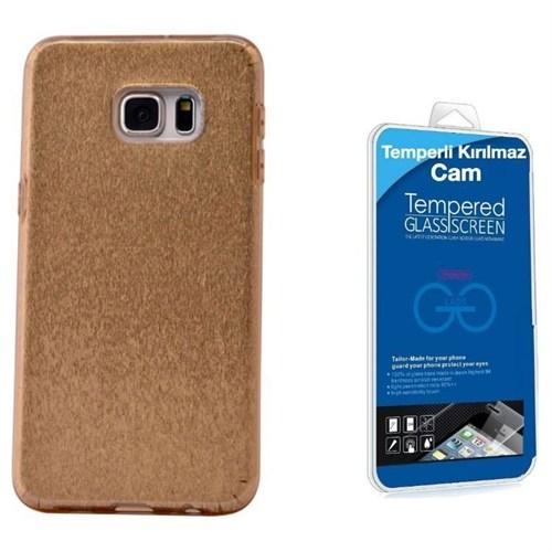 Teleplus Galaxy S6 Edge Plus Simli Silikon Kılıf Gold + Kırılmaz Cam