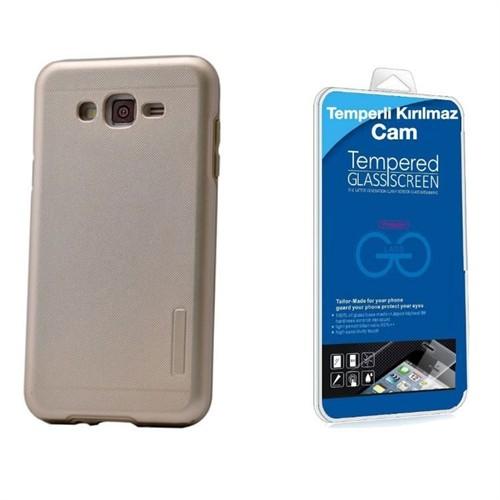 Teleplus Galaxy J7 Çift Katmanlı Kapak Kılıf Gold + Kırılmaz Cam