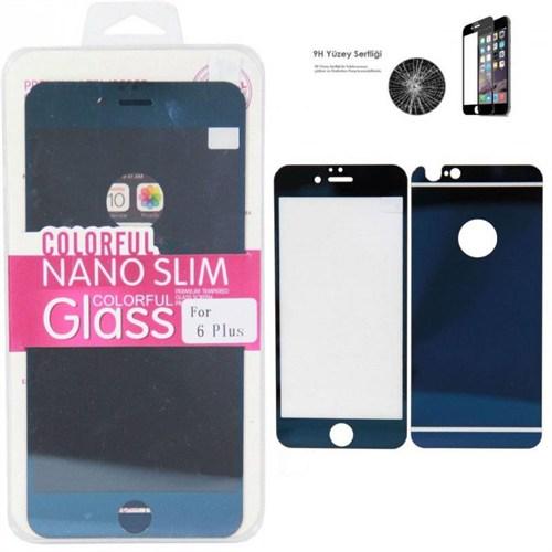 Cyber Apple iPhone 6 6S Plus Mavi Aynalı Ekran Koruyucu Cam Ön-Arka