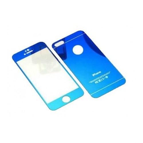 Cyber Apple iPhone 5S 5G Mavi Aynalı Ekran Koruyucu Cam Ön-Arka