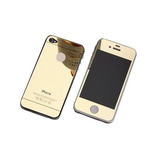 Cyber Apple iPhone 4S 4G Gold Aynalı Ekran Koruyucu Cam Ön-Arka