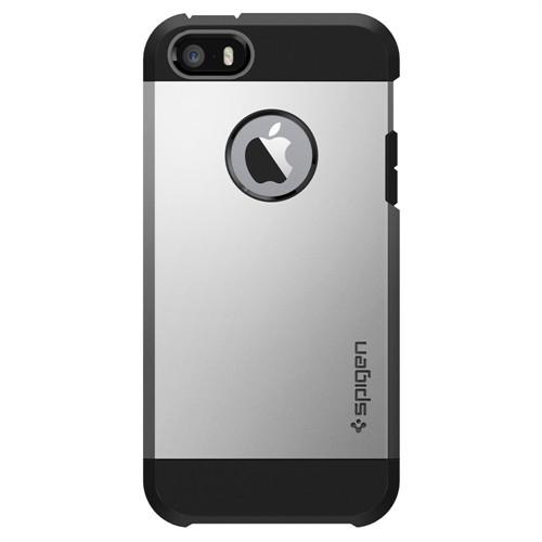 Spigen iPhone Se/5S/5 Kılıf Tough Armor Satin Silver Darbelere Karşı Koruma