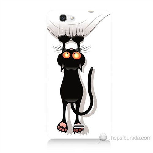 Teknomeg Casper Via V8C Kara Kedi Baskılı Silikon Kılıf