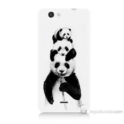Teknomeg Casper Via V8C Panda Ailesi Baskılı Silikon Kılıf