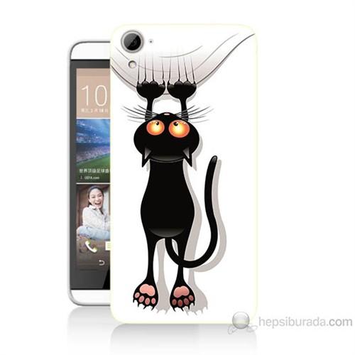 Teknomeg Htc Desire 826 Kara Kedi Baskılı Silikon Kılıf