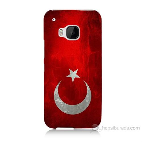 Teknomeg Htc One M9 Türkiye Bayrağı Baskılı Silikon Kılıf