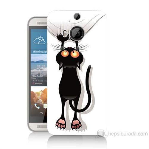 Teknomeg Htc One M9 Plus Kara Kedi Baskılı Silikon Kılıf