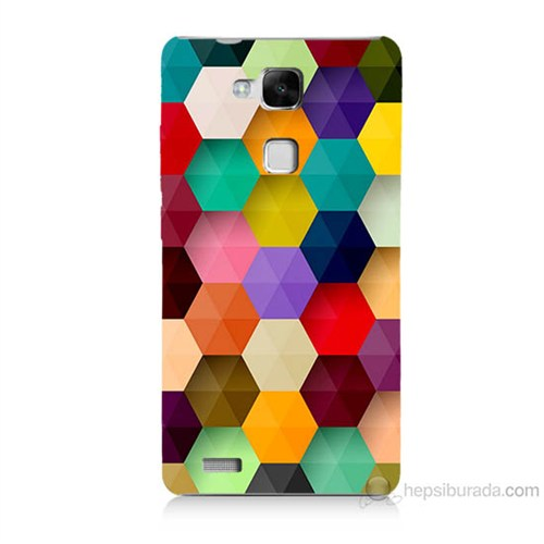 Teknomeg Huawei Ascend Mate 7 Renkli Petek Baskılı Silikon Kılıf