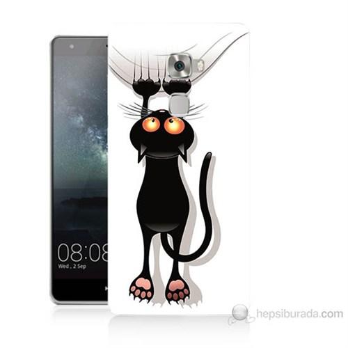 Teknomeg Huawei Ascend Mate S Kara Kedi Baskılı Silikon Kılıf
