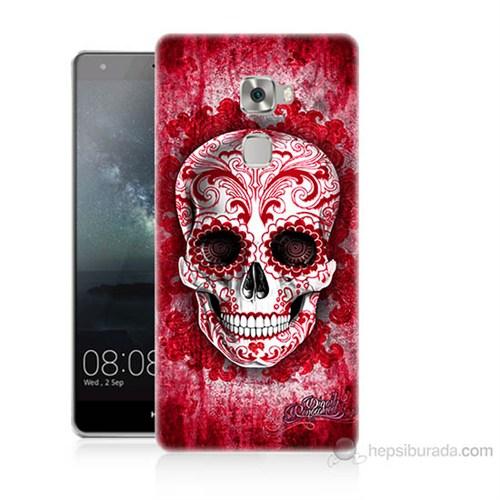 Teknomeg Huawei Ascend Mate S Kırmızı İskelet Baskılı Silikon Kılıf