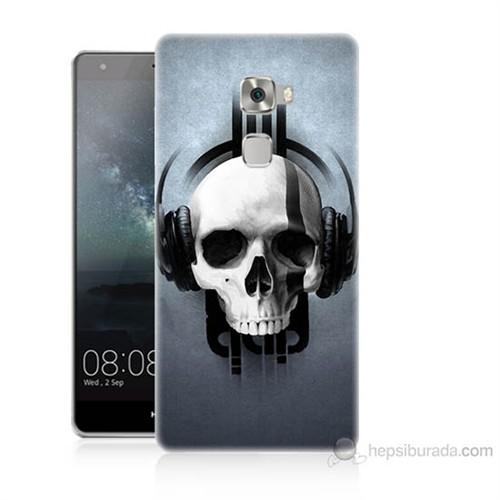 Teknomeg Huawei Ascend Mate S Müzik Dinleyen Kurukafa Baskılı Silikon Kılıf