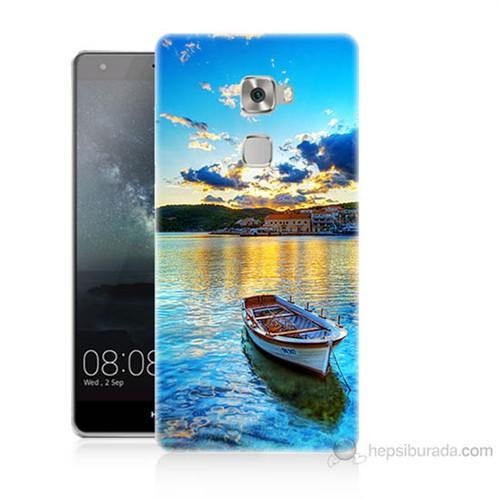 Teknomeg Huawei Ascend Mate S Gün Batımında Deniz Baskılı Silikon Kılıf