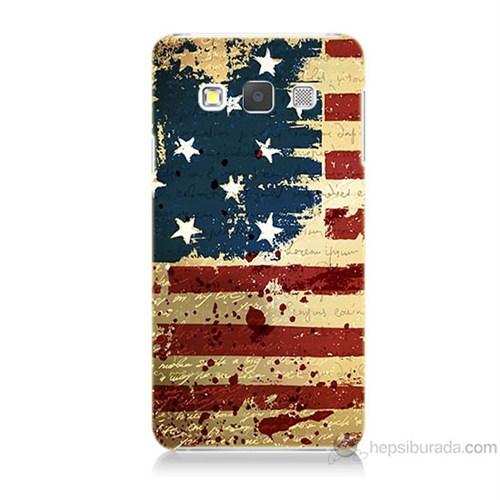 Teknomeg Samsung Galaxy A3 Amerika Bayrağı Baskılı Silikon Kılıf