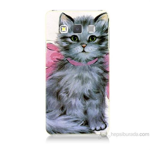 Teknomeg Samsung Galaxy A3 Papyonlu Kedi Baskılı Silikon Kılıf