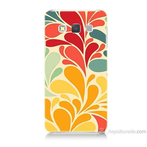 Teknomeg Samsung Galaxy A7 Çiçekler Baskılı Silikon Kılıf