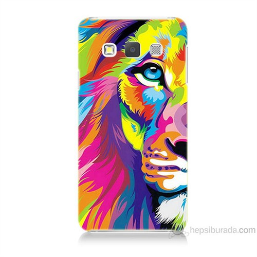 Teknomeg Samsung Galaxy A7 Renkli Aslan Baskılı Silikon Kılıf