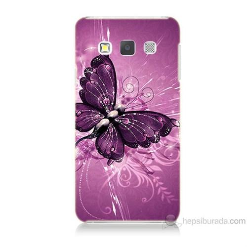 Teknomeg Samsung Galaxy A7 Mor Kelebek Baskılı Silikon Kılıf