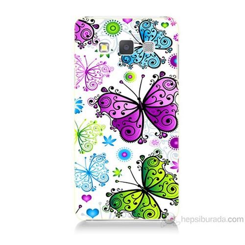 Teknomeg Samsung Galaxy A7 Renkli Kelebekler Baskılı Silikon Kılıf